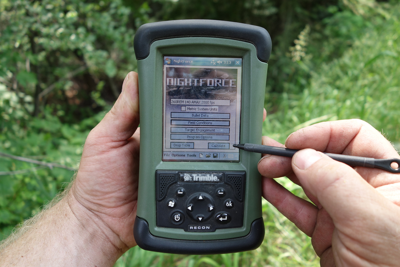 Trimble Recon with Nightforce Exbal ballistic calculator